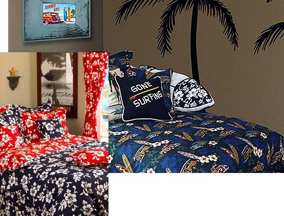 Hawaiian Print Comforters: Hawaiian Bedding, Tropical Bedding, Beach Bedding, Surf